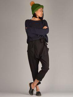 b62d01bb4d3 Cotton Harem Pants with Belt - Mid Crotch