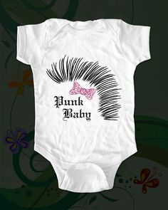 Punk Baby Girl  Mohawk hair  funny saying printed by cuteandfunny, $15.00