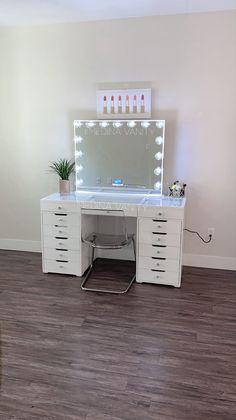 ZARA Vanity Table + 2 Dressers - Medina Vanity Interior design could be the art Room Ideas Bedroom, Bedroom Decor, Lighted Vanity Mirror, Glass Vanity Table, Vanity Tables, Vanity Mirrors, Cute Room Ideas, Vanity Room, Dorm Ideas