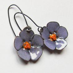 Flower Dangle Earrings Enamel Jewelry Purple by OxArtJewelry