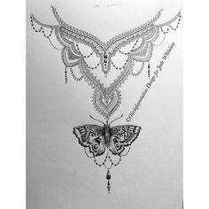 """Back piece for Jade :) #mehndi #mandala #tattoo #tattoodesign #backtattoo #butterfly #butterflytattoo"""