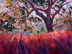 like the red foreground... California Oak Paso Robles Original Oil Painting Landscape by Erin Hanson 40x30 #tree #art