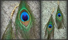 peacock earrings Peacock Earrings, Feather Earrings, Cute Earrings, Silver Earrings, Peacock Butterfly, Peacock Feathers, Mardi Gras, Earrings Handmade, Beading Ideas