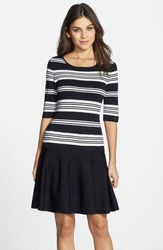 Ivanka Trump Stripe Drop Waist Sweater Dress