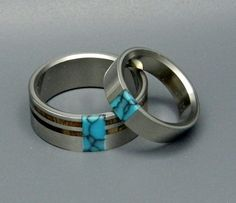 Titanium Wedding Rings | Koa Comet and Constellation by Minter & Richter Designs--I love the simplicity of these!