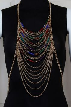 Body Chain Necklace Draping Metal Gold Chains by crystalelements1