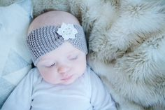 BABY knit headband with flower 6-9 month by southportmade on Etsy