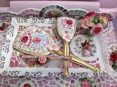 Shabby Mosaic 3 Piece Vanity Set by hillspeak, via Flickr