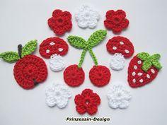 Apfel, Erdbeere, Kirsche, Fliegenpilz, Häkelblumen