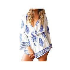 Amazon.com: CM-Light Womens Sexy V Neck Leaf Print 3 4 Sleeve Loose Rompers Jumpsuits Beachwear: Clothing