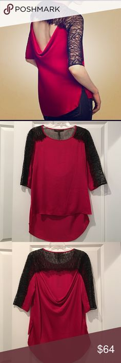 BCBG Addy Lace Trim Blouse 3/4 sleeve lace trim top in Turkish rose in size medium.  Draped cowl back with lace trim.  100% polyester BCBGMaxAzria Tops Blouses