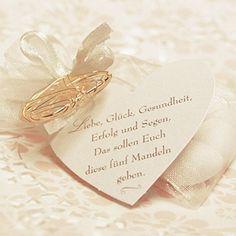 """Geschenkanhänger """"Hochzeitsmandel-Spruch"""", herzförmig, 10 St. - Herzanhänger für Hochzeitsmandeln mit Spruch"""