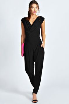 Candice Cowl Front Tapered Leg Jumpsuit   Boohoo.com $45