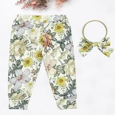 Kryssi Kouture Floral Melody Mustad Boho Legging/Jogger For the girl and mama who love all things floral.