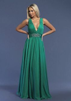 Fashion Chiffon A line V Neck Backless Evening Party Dress With Beading - Lunadress.co.uk