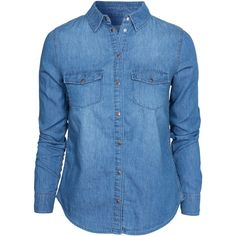New Look Li Denim Shirt ($14) ❤ liked on Polyvore featuring tops, shirts, blouses, blusas, blue, blouses & shirts, womens-fashion, blue denim blouse, blue blouse and denim shirt