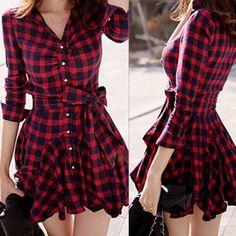 Shirt Collar Long Sleeve Plaid Print Bowknot Design A-Line Women Dress #CLICK! #clothing, #shoes, #jewelry, #women, #men