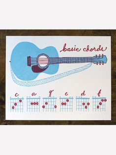 "Cute Guitar Chords Print 10"" x 8"" by Wildhorse Press. You can play 20 fun songs using just 5 easy chords! Learn more on our blog: http://takelessons.com/blog/2012/03/learn-to-play-20-songs-using-5-easy-guitar-chords/    #guitar #learnguitar #guitarchords #guitarsongs #takelessons #playmusic"