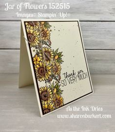 Lovely blooms colored with Stampin' Blends from the Jar of Flowers set Sunflower Cards, Sunflower Flower, Cactus Flower, Stamp Up, A Team, Team Member, Colorful Flowers, Exotic Flowers, Anniversary Cards
