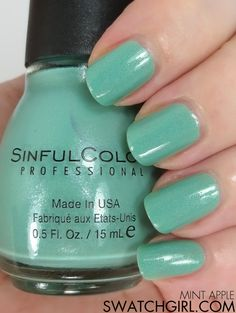 Sinful Colors Mint Apple nail polish swatch | swatchgirl