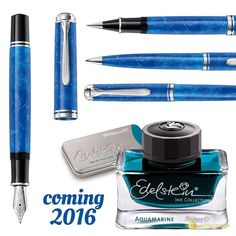 I think @pelikan_company has a case of the blues for 2016. Love it! Put the new M805 Vibrant Blue & the Edelstein ink of the year Aquamarine on the top of your pen wish list for next year.  #pelikan #fountainpens #fountainpenink #aquamarine #blue #m805 #fpgeeks #penaddict #edelstein #inkygoodness @pelikan_international by goldspotpens