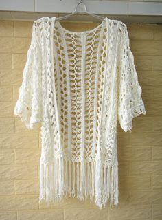 Fringe Kimono Crochet Cardigan Bell Sleeve Top