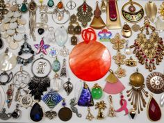 Huge  92 PC Charm Pendant Jewelry Lot Great for Resale~Crafts~Re-Purpose-Etc