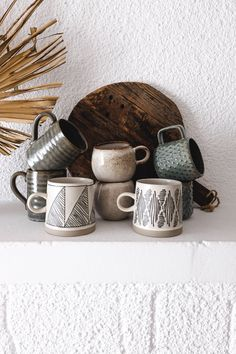 Grand mug imprimé géométrique en grès fait main - 3 motifs au choix — CARNET SAUVAGE Bohemian Decoration, Decoration Originale, Ceramic Art, Ceramics, Tableware, Motifs, Home Decor, Ceramic Tableware
