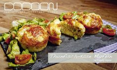 Thunfisch-Käse Muffins Burger, Baked Potato, Potatoes, Meat, Chicken, Baking, Ethnic Recipes, Food, Tuna
