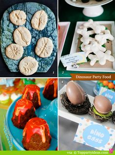 Dinosaur Party Food - fossil cookies, lava brownie cakes, chocolate eggs, dinosaur meringue bones