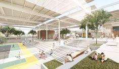 City Hall Architecture, University Architecture, Education Architecture, School Architecture, School Building Design, School Design, Community Places, Future School, Landscape And Urbanism