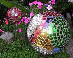 Mosaic Mirror Gazing Balls by GardenDivaDeb, via Flickr