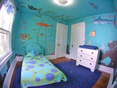 room with wall painted. Room Ideas Bedroom, Bedroom Themes, Kids Bedroom, Room Decor, Sea Bedrooms, Ocean Bedroom, Animal Bedroom, Ideas Dormitorios, Kids Room Paint