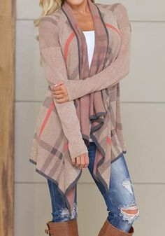Grey Plaid Pattern Collarless Casual Spandex Cardigan Sweater Cardigan  Outfits cae96f687