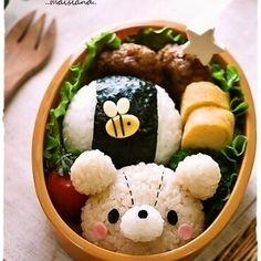 ╰ ~`O`~ CasaBento - bear & buzzy~bee bento Bento Box Lunch For Kids, Bento Kids, Cute Bento Boxes, Japanese Bento Box, Japanese Food Art, Japanese Sweets, Kawaii Cooking, Kawaii Bento, Eat This