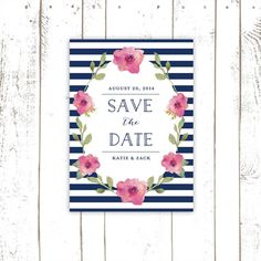 save the date navy striped save the date by mooseberryprintshop 6400 pink wedding invitations