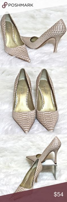 """ALDO Snake Embossed Gold Leather Pointed Pumps Gold, white + snake-embossed + pointed toes + 4.25"""" high = One pair of Sexy Lady heels!  Worn Only Once, these Aldo beauties are in PRISTINE condition & ready to be loved.   Textural & shimmering, these heels will make any outfit sing & your BFF will definitely ask to borrow them :)  Flatter your favorite jeans, add foot bling to your LBD, or dance the night away at your prom or special event.  However you style & wear them, you'll score major…"""
