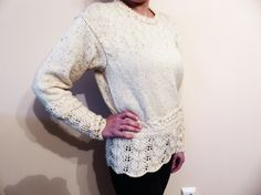 Hand knitted blouse with crocheted elements. Made from High-Quality Cotton Yarn. I can knit the blouse in all colors and sizes.  For more information, please contact me.  The model on the picture is: Length - 63.5 cm Waist - 48.5 cm Hips - 42 cm Sleeve length - 59.5 cm Shoulders - 50 cm