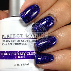 LeChat Perfect Match Ready for My Closeup is a gorgeous glittery, shimmery, deep blue-ish purple. I didn't think my camera would be able to capture all of the glittery goodness of this polish… Glitter Gel Polish, Gel Polish Colors, Mood Polish, Shellac Colors, Purple Nail Polish, Colorful Nail Designs, Gel Nail Designs, Perfect Match Gel Polish, Gel Polish Brands