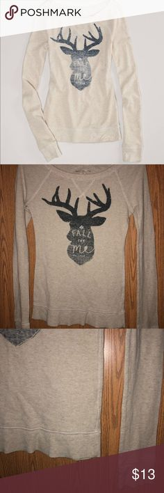M - American Eagle Outfitters Deer Graphic Thermal Brand: AEO  Size: Medium M  Condition: Excellent EUC Material: 97% Cotton 3% Spandex   Details: cream/oatmeal in color with slate ombré Deer Graphic on front with the quote fall for me my deer on the front as well. Thermal like ribbed style. Scoop neck. Fitted with stretch.   Priced with negotiation in mind, feel free to make an offer.   LIKE to receive 10% off plus Shipping discount! Bundle to receive a better deal. FOLLOW Me for future…