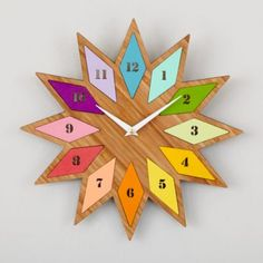 Chromatic Bamboo Wall Clock  | The Land of Nod