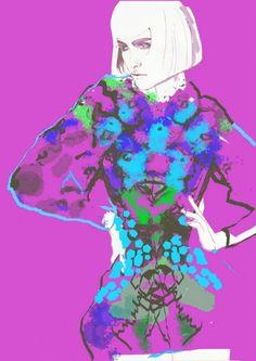MQueen - fashion illustration byFrancesca Waddell