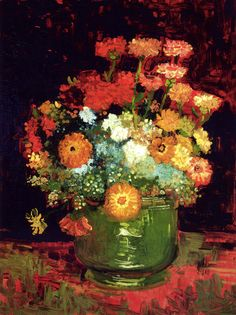 svell:  Vincent van Gogh, Bowl with Zinnias, 1886.