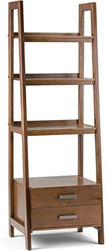 Buy Simpli Home Sawhorse Solid Wood 72 Inch X 24 Inch Modern Industrial Ladder Shelf Storage Medium Saddle Brown Online In 2020 Wood Ladder Shelf Brown Home Decor Shelves