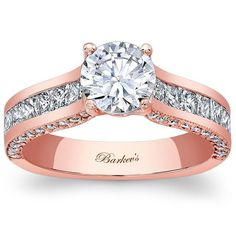Barkev's 14K Rose Gold Princess Cut Diamond Channel Set Engagement Ring Featuring 0.99 Carats Princess Cut Diamonds, 0.34 Carats Round Cut Diamonds Style 7956LPW