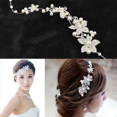 Bridal Hair Accessories Luxurious Crystal Pearl Lace Flower Headbands Party Bridal Tiara Headwear Brand wedding Hair Accessories #Affiliate