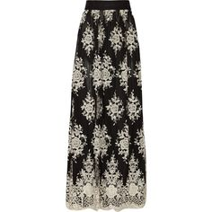 Alice + Olivia Brent appliquéd tulle maxi skirt (1,910 AED) ❤ liked on Polyvore featuring skirts, black, floral skirt, long floral maxi skirt, long floral skirts, long skirts and scalloped skirt