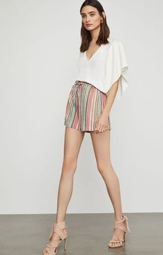 Shop BCBG's selection of tops for women. Browse a variety of shirts for women, including designer tops, chic tops and more to find the right styles for you. Short Outfits, Short Dresses, Casual Looks, Boho Shorts, Chic, My Style, Clothes, Sleeve, Personal Shopping