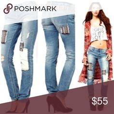 Free People PatchWork Jeans New no tags Free People Jeans Straight Leg