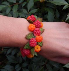 Forest berries charm bracelet  red yellow fruit food Jewelry